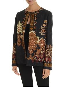 Etro - Black jacket with pattern in shades of brown