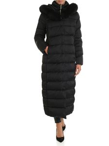 Herno - Long black down jacket with hood