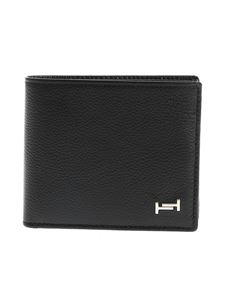 Tod's - Black wallet with silver metal logo