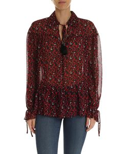 Michael Kors - Black blouse with red and white print