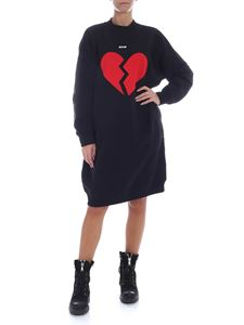 MSGM - Black fleece dress with broken heart