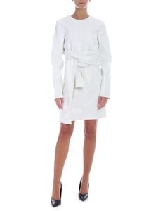 MSGM - Dress in white eco-leather with reptile print