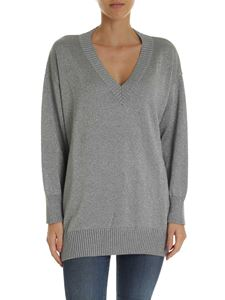 Parosh - Oversize knitted pullover in silver lamè