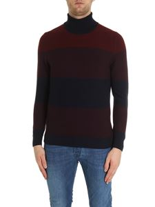 Fay - Turtleneck pullover in burgundy and blue