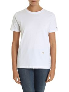 Tommy Hilfiger - White T-shirt with golden lamè logo embroidery
