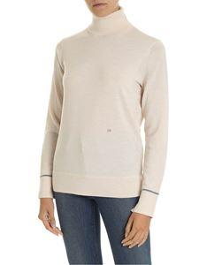 Calvin Klein - Nude-colored turtleneck with logo embroidery