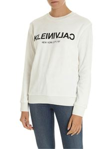 Calvin Klein - White chenille sweatshirt with logo