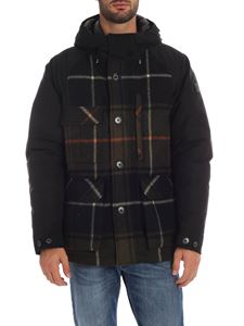 Woolrich - Black and green down jacket with check detail