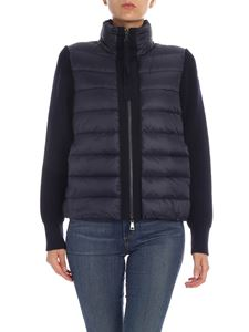 Moncler - Cardigan in blue with down padded detail