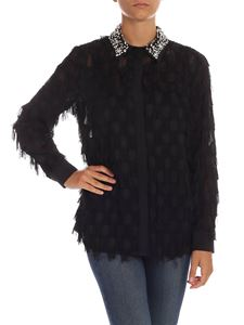be Blumarine - Black shirt with fringes and rhinestones