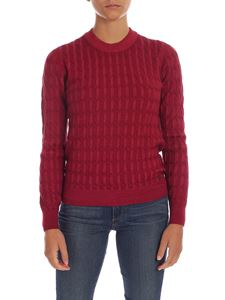 Fay - Braided knitting pullover in burgundy