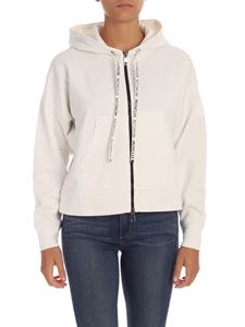 Moncler - Sweatshirt in white with branded drawstrings