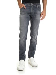 Jacob Cohën - Grey jeans with black leather logo
