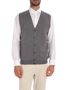Fay - Grey melange vest with logo embroidery