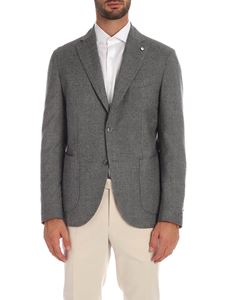 L.B.M. 1911 - Slim jacket in shades of gray with logo brooch