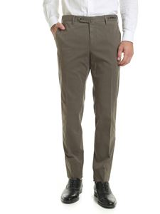 PT01 - Mud-colored stretch cotton trousers