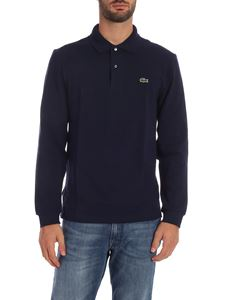 Lacoste - Blue long sleeve polo shirt with logo patch