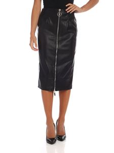 Elisabetta Franchi - Midi skirt in black eco-leather with zip
