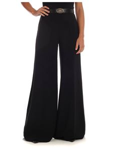 Elisabetta Franchi - Black palazzo trousers with belt