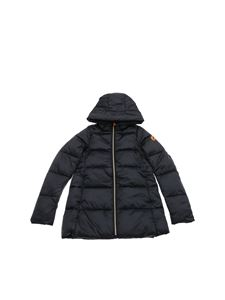 Save the duck - Black down jacket with logo patch