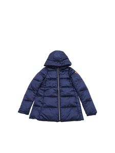 Save the duck - Blue down jacket with logo patch
