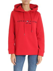 Tommy Hilfiger - Red sweatshirt with logo embroidery