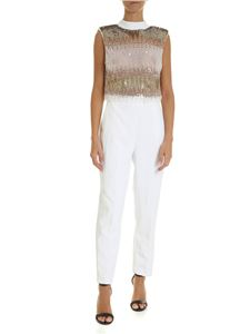 Elisabetta Franchi - White sleeveless jumpsuit with sequins