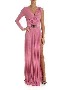 Elisabetta Franchi - Long pleated dress in pink lamé color