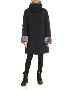 Save the duck - Black down jacket with eco fur inserts