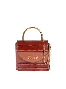 Chloé - Aby Lock small bag in Chestnut Brown color