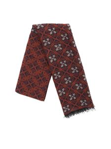 L.B.M. 1911 - Scarf in brown with floral embroidery