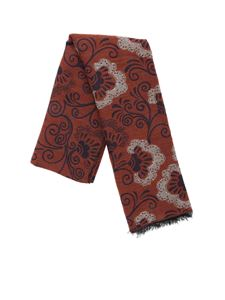 L.B.M. 1911 - Scarf in brown with blue embroidery