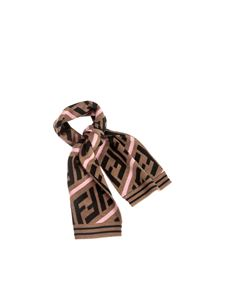 Fendi Jr - FF scarf in brown and pink