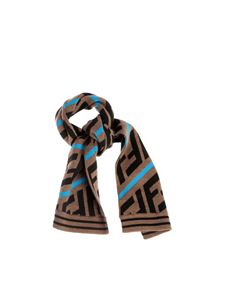 Fendi Jr - FF scarf in brown and light blue