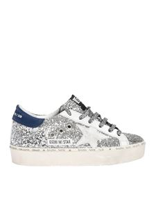 Golden Goose Deluxe Brand - Hi Star sneakers in silver glitter with animal laces