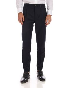 PS by Paul Smith - Dark blue melange trousers with turned-up bottom