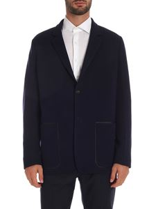 Paul Smith - Blue jacket with leather trim