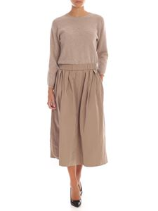 Peserico - Long dress in beige with technical fabric skirt