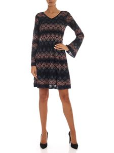 M Missoni - Blue black and pink lamé knitted dress