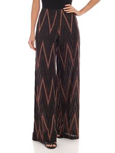 M Missoni - Palazzo pants in black and bronze lamè