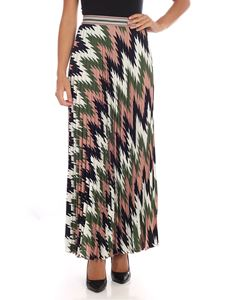 M Missoni - Pleated skirt in white pink and green