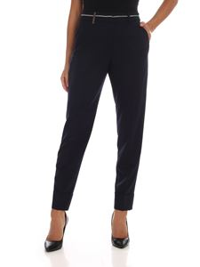 Peserico - Dark blue trousers with micro-beads