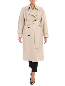 Harris Wharf London - Beige double-breasted coat with fleece lining