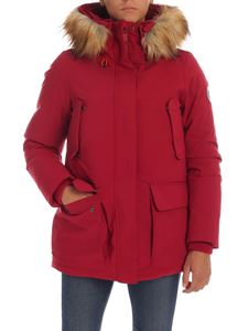 Save the duck - Red down jacket with eco fur insert