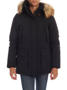 Save the duck - Black down jacket with eco fur insert