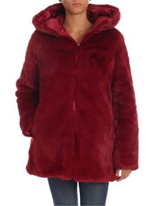 Save the duck - Burgundy eco-fur with hood