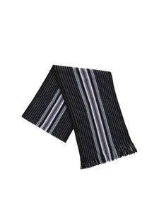 Paul Smith - Black scarf with Goji Stripe pattern