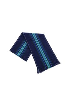 Paul Smith - Blue scarf with Goji Stripe motif