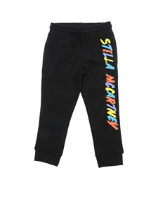 Stella McCartney Kids - Black fleece pants with logo