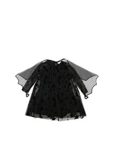 Stella McCartney Kids - Abito in tulle nero con stampa stelle